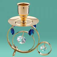 Подсвечники Сваровски для длинных свечей (синие кристаллы)