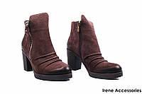 Ботильоны женские нубук Convest (ботинки модельные, Турция, байка)
