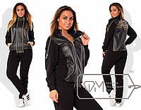 Черный женский спортивный костюм в больших размерах a-1515758