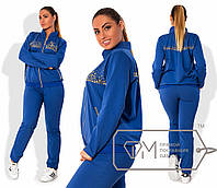 Женский синий спортивный костюм в больших размерах s-1515759