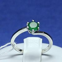 Маленькое серебряное кольцо с зеленым агатом размер 16,5 Янина 1749/9р