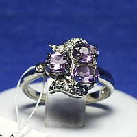 Интересное серебряное кольцо с аметистом и цирконами R38 ам