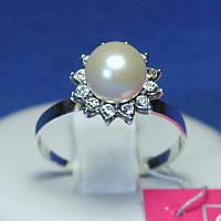 Красивое кольцо серебро с жемчугом и цирконием 1058