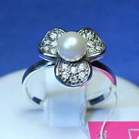 Женское серебряное кольцо с жемчугом Клевер 11009