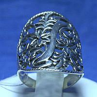 Широкое серебряное кольцо с орнаментом из цветов 11057