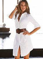 Удлиненная блуза с поясом и манжетами на рукавах