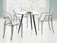Стеклянный кухонный стол Artemis Halmar на трех металлических черных ножках