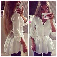 Блуза широкого покроя с поясом