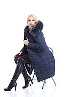 Зимнее пальто пуховик с натуральным мехом песца. 50-60 размеры