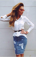 Классическая  женская  блуза с длинным рукавом