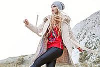 Пуховик женский с натуральным мехом енота в стиле минимализма