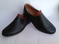 Мужские кожаные черные туфли под ложку