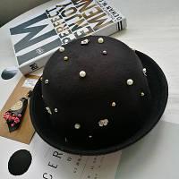 Шляпа женская фетровая котелок с бусинами черная