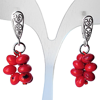 Коралл красный, серебро 925, серьги гроздь