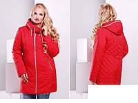 Женское демисезонное полу пальто  из плащевой водоотталкивающей ткани размеры 50-52-54-56-58 -60-62-64-66-68