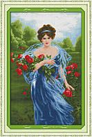 Набор для вышивания крестом Дама с цветами