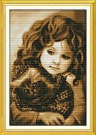 Набор вышивки крестом Девочка с котом