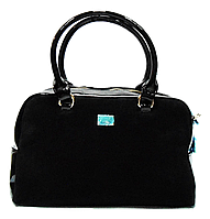Элегантная женская сумочка из замши и искусственной кожи черного цвета
