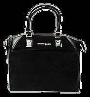 Деловая женская сумочка из замши и искусственной кожи черного цвета CALVIN KLEIN