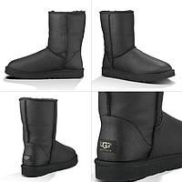 Кожаные угги Ugg Australia leather black на овчине