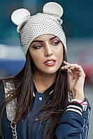 Женская шапка с ушками и вуалью Mouse