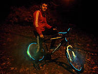 Подсветка на колеса велосипеда неоновым проводом 2.6мм