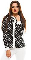 Блузка из креп-шифона с воротничком и белой отделкой