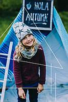 Красивый комплект шапка и хомут для девочки ТМ Дембохаус