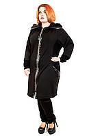 Пальто женское трикотажное большого размера Вельбо, пальто батал, пальто с капюшоном, дропшиппинг поставщик