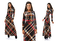 Осенне-весеннее длинное платье в пол в клетку