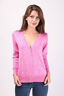 Стильная женская кофточка на пуговицах розового цвета