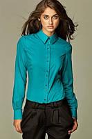 Блуза с планочкой на пуговицах и длинными рукавами с манжетами