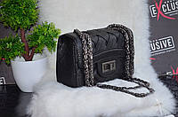 """Мини-сумка """"Шанель"""" черная плетенная."""