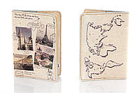 Кожаная обложка на паспорт Города Европы