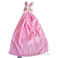 Полотенце детское махровое Zastelli фигурка розового зайчика 34х50 см