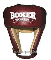 Шлем боксерский/для бокса BOXER, сверху шнуровка, кожа, разн. цвета, L