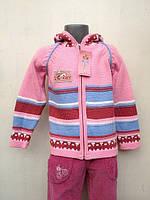 Кофта для девочки вязанная Розовая с капюшоном