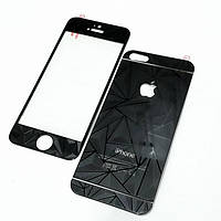 Diamond black tempered glass 2in1(front+back) for iPhone 4/4s