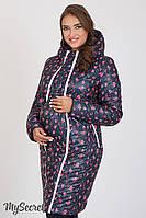 Стильное двухстороннее пальто для беременных Kristin, синее с мелким цветочком на синем