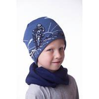 Детская шапочка на мальчика c мотоцыклом