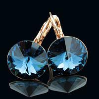 012-0022 - Серьги с кристаллами Swarovski Rivoli (size L) Dark Indigo розовая позолота