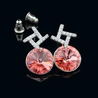 012-0027 - Серьги с кристаллами Swarovski Rivoli Padparadscha родий прозрачные фианиты