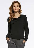 Женская блуза черного цвета с бантом. Модель 220002 Enny, коллекция осень-зима 2016-2017.
