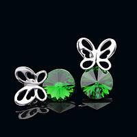 012-0035 - Серьги с кристаллами Swarovski Rivoli Light Emerald родий