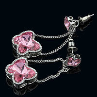 012-0038 - Серьги с кристаллами Swarovski ButterflyCrystal Light Rose родий