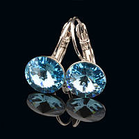 R8-0008 - Серьги с кристаллами Swarovski Rivoli Aquamarine родий