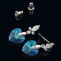 R8-0009 - Серьги с кристаллами Swarovski Xilion Heart Turquoise Glacier Blue родий прозрачные фианиты