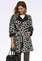 Женское пальто серого цвета с поясом оверсайз. Модель 220009 Enny, коллекция осень-зима 2016-2017.