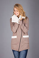 Куртка из теплого трикотажа на меховой основе | латте