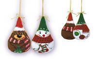 """Набор для вышивания крестом «Новогодние игрушки 2 шт. """"Снеговик и медведь""""» (927), Риолис"""